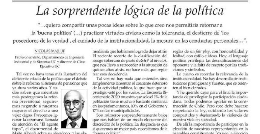 columna La sorprende lógica de la política, de Nicolás Majluf